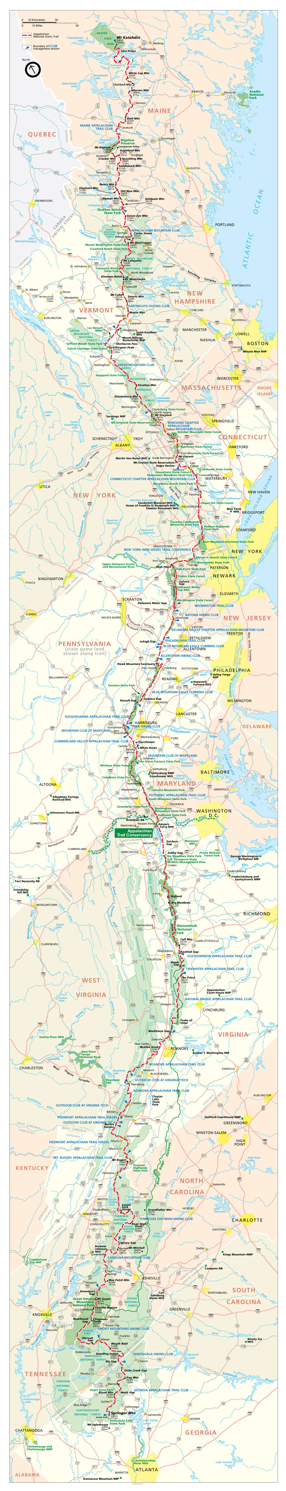 Appalachian Trail In Maine Map.Appalachian Trail Map From Georgia To Maine